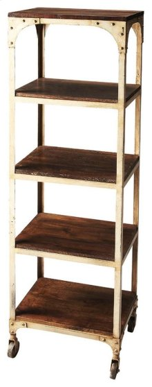 Add industrial ambiance to your space with this spacious and functional etagere. Forged from iron with aged solid mango wood shelves, it is great for storing books, CDs and movies as well as displaying photos and home accents.