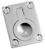 "Polished Brass Flush ring, 1 1/8"" x 1 1/2"""