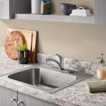 American StandardColony 25x22 Single Bowl Kitchen Sink Kit with Faucet and Drain  American Standard - Stainless Steel