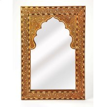 This rectangular wall mirror is an extraordinary feat of craftsmanship. Its wondrous botanical design with a mihrab inset frame is painstakingly created inlaying bone - within a merranti wood frame - one individual piece at a time. Its hand rubbed finish