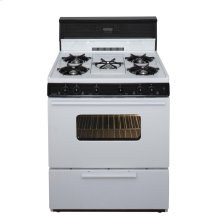 30 in. Freestanding Gas Range with 5th Burner and Griddle Package in White