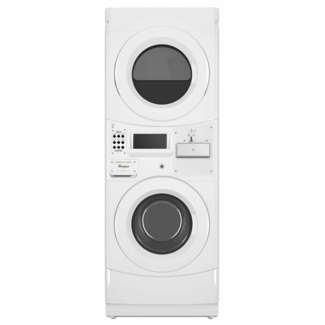Whirlpool Commercial Electric Stack Washer/Dryer, Coin Equipped White