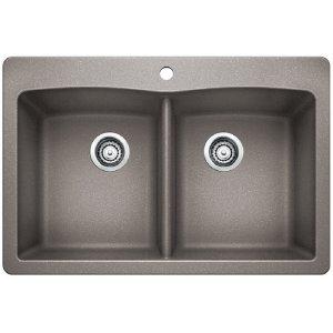 Blanco Diamond Equal Double Bowl With Ledge - Metallic Gray