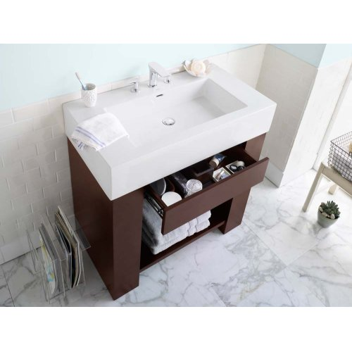 "Zenia 36"" Bathroom Vanity Base Cabinet in Dark Cherry"
