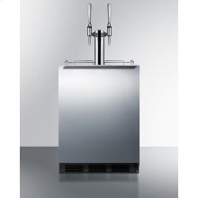 Built-in Undercounter ADA Height Commercially Listed Dual Tap Nitro Coffee Dispenser With Stainless Steel Wrapped Door and Black Cabinet