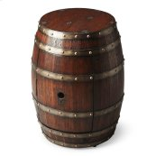 Crafted from solid wood and wood products thtat are bound six polished metal bands, this Barrel Table features a surprisingly large storage area behind the door with a hole that would make any bird proud.