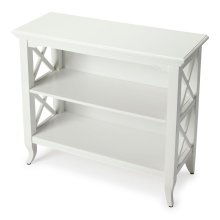 This stylish bookcase is a wonderful accent in a living room, family room, hallway, kitchen, child's room or home office. Made for smaller spaces, versatility is one of its key attributes. Crafted from select hardwood solids and wood products, it features
