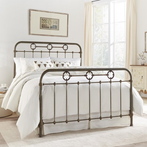 Madera Metal Headboard and Footboard Bed Panels with Intricate Carved Castings and Brass Color Plated Designs, Rustic Green Finish, California King