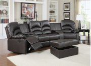 Ventura Brown Bonded Leather Reclining Theater Set with Storage Ottoman Product Image