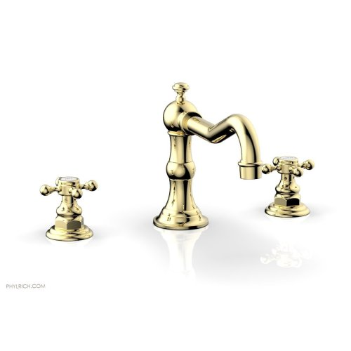 HENRI Deck Tub Set - Cross Handle 161-40 - Polished Brass