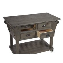 Kitchen Island w/ Drawers - Distressed Dark Gray Finish