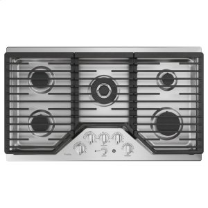 "GE ProfileGE PROFILEGE Profile™ 36"" Built-In Tri-Ring Gas Cooktop with 5 Burners and Optional Extra-Large Integrated Griddle"