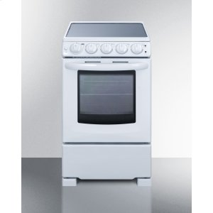 "Summit20"" Wide Slide-in Look Smooth-top Electric Range In White With Oven Window; Replaces Rex205w/rt"