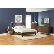 Lompoc Mid-century Modern Brown Walnut Queen Four-piece Set