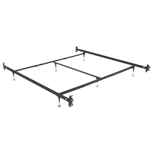 Fashion Bed Rails 10061H Brass Bed Frame System with Hook-On Headboard Brackets and (6) Adjustable Leg Glides, Queen / King