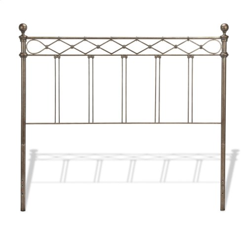 Argyle Bed with Round Finial Posts and Diamond Wire Metal Grill Design, Copper Chrome Finish, Queen