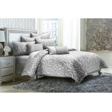 7pc Queen Comforter Set Silver
