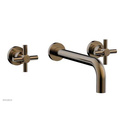 "Basic Wall Tub Set 10"" Spout - Tubular Cross Handles D1134-10 - Antique Brass"