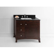 "Hampton 36"" Bathroom Vanity Cabinet Base in Vintage Walnut - Door on Right"