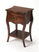Crafted from Mango wood solids in an Antique Walnut finish; this night stand is perfect for stowing bedside essentials and flanking your master bed as a pair, this lovely nightstand showcases a single drawer, scalloped apron and lower display shelf. Product Image