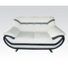 Wh , Bk Bonded Leather Sofa