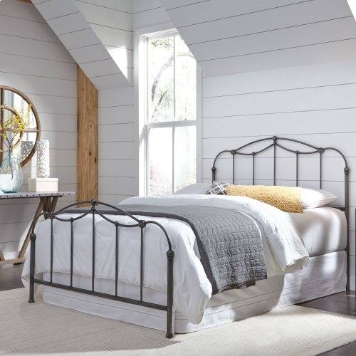 Braylen Metal Headboard and Footboard Bed Panels with Spindles and Detailed Castings, Weathered Nickel Finish, Queen