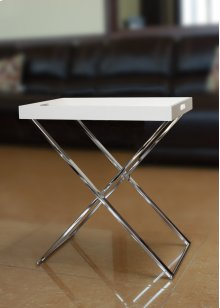 Chrome & White End Table with Removable Tray