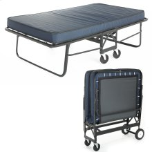 "Rollaway 1290P Folding Cot and 30"" Anti-Bacterial Fiber Mattress with Angle Steel Frame and Poly Deck Sleeping Surface, 29"" x 75"""
