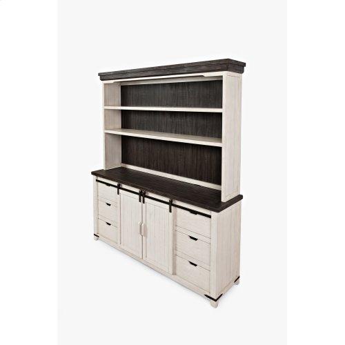 "Madison County 70"" Barndoor Hutch Server - Vintage White"