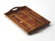 Add new style to your regular hosting with the Sheesham wood and bone inlay serving tray. Featuring a botanical motif and angled edge this tray will look good in your kitchen, on your cocktail table or dresser.