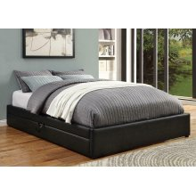 Hunter Transitional Black Upholstered Queen Storage Bed