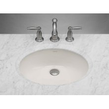 Oval Ceramic Undermount Bathroom Sink in Biscuit