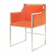 "Orange Velvet Dining & Occasional Chair With Nickel Frame. Seat Height: 20"" Arm Height: 28"""