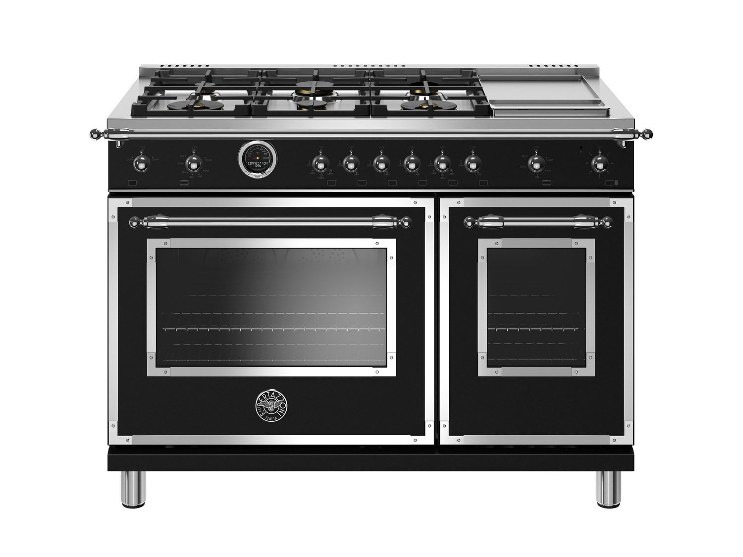 Bertazzoni48 Inch Dual Fuel Range, 6 Brass Burners And Griddle, Electric Self Clean Oven Nero Matt