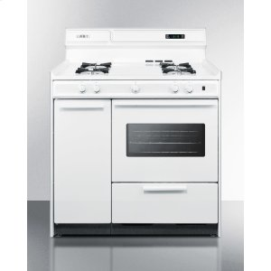"SummitDeluxe White Gas Range With Electronic Ignition, Clock/timer, and Oven Window With Light In 36"" Width; Replaces the Wtm4303ktw"