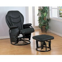 Upholstered Casual Black Swivel Glider and Ottoman
