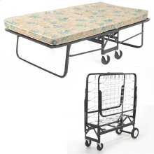 """Rollaway 1292 Folding Bed and 48"""" Fiber Mattress with Angle Steel Frame and Link Deck Sleeping Surface, 47"""" x 75"""""""