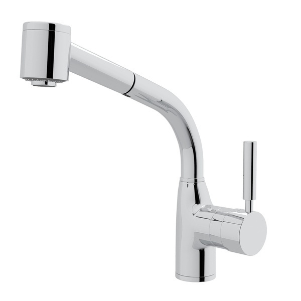 Polished Chrome Lux Side Lever Pull-Out Kitchen Faucet with Lux Metal Lever