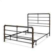 Everett Complete Metal Bed and Steel Support Frame with Industrial Pipe Design, Brushed Copper Finish, Queen