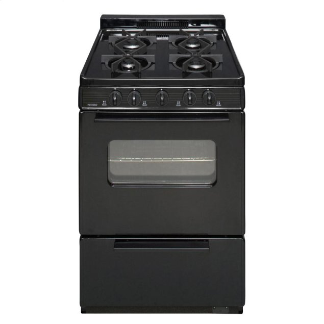 Premier 24 in. Freestanding Battery-Generated Spark Ignition Gas Range in Black