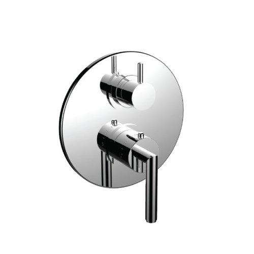 """7098fo-tm - 1/2"""" Thermostatic Trim With 3-way Diverter Trim (shared Function) in Unlacquered Brass"""