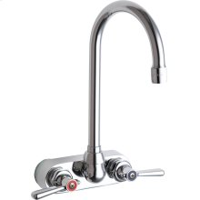 "Wall-mounted manual sink faucet with 4"" centers"