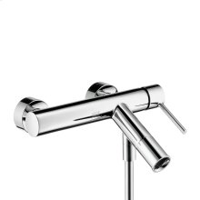 Chrome Single lever bath mixer for exposed installation with pin handle