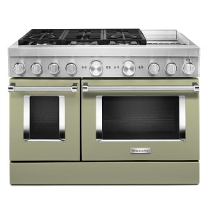 KitchenaidKitchenAid® 48'' Smart Commercial-Style Dual Fuel Range with Griddle Avocado Cream