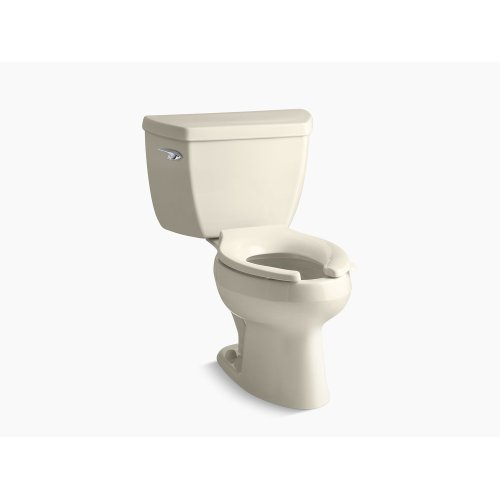 Almond Two-piece Elongated 1.28 Gpf Toilet With Class Five Flush Technology, Left-hand Trip Lever and Tank Cover Locks, Seat Not Included
