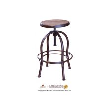 "24-30"" Adjustable Height Swivel Stool, wooden seat, curved leg, Iron base"