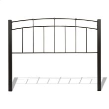 Scottsdale Metal Headboard Panel with Dark Espresso Wood Posts and Sloping Top Rail, Black Speckle Finish, King