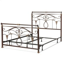 Lucinda Complete Metal Bed and Steel Support Frame with Intricate Scrollwork and Sleigh-Styled Top Rails, Marbled Russet Finish, Queen