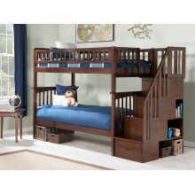 Columbia Staircase Bunk Bed Twin over Twin in Walnut