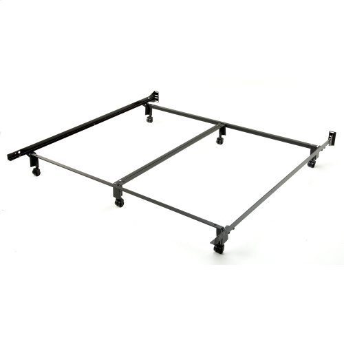 Inst-A-Matic Premium PC777R Bed Frame with Headboard Brackets and (6) 2-Inch Locking Rug Roller Legs, Powder Coat Finish, King